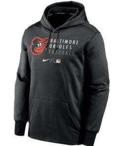 Baltimore Orioles Nike Black Authentic Collection Logo Stack Performance Pullover Hoodie Unisex Hoodie